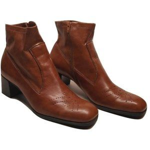 FRANCO SARTO Cognac Boot Ankle Booties Square Toe